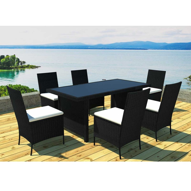 Ensemble table 6 chaises de jardin cancun noir cru for Table 6 chaises but