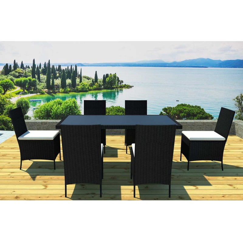 Ensemble table 6 chaises de jardin cancun noir cru - Table de jardin pop up mulhouse ...