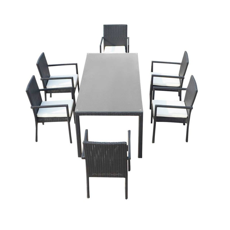 ensemble table 6 fauteuils de jardin cancun noir cru. Black Bedroom Furniture Sets. Home Design Ideas