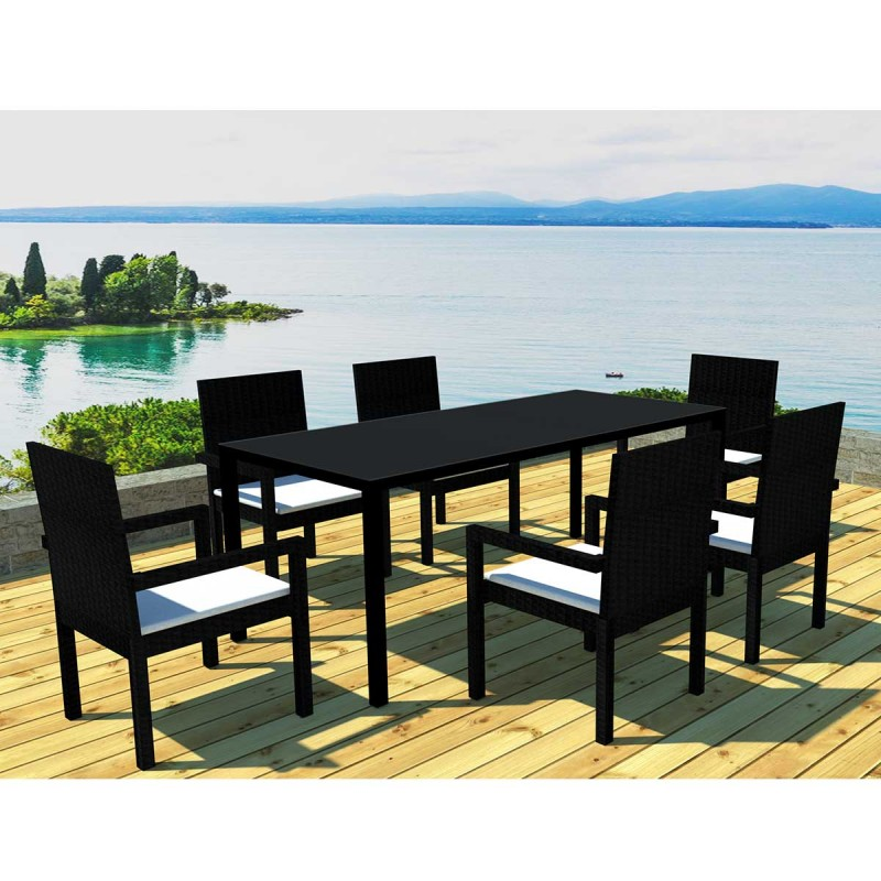 Ensemble table 6 fauteuils de jardin cancun noir cru - Ensemble table de jardin ...