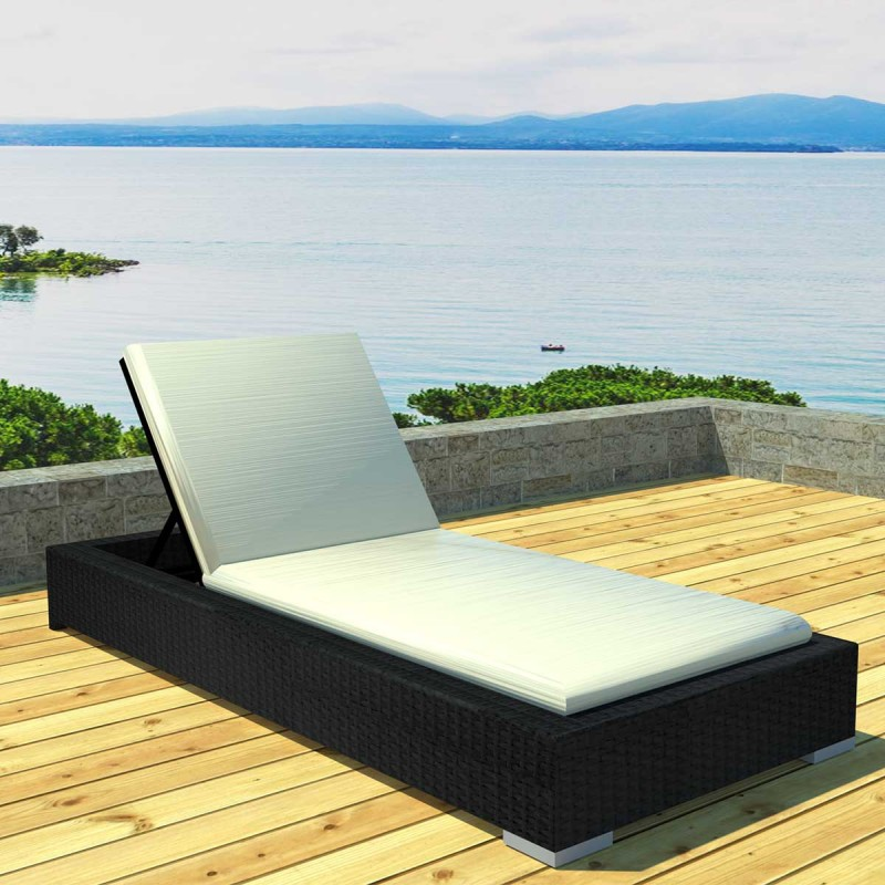 bain de soleil avec matelas lloret noir cru. Black Bedroom Furniture Sets. Home Design Ideas
