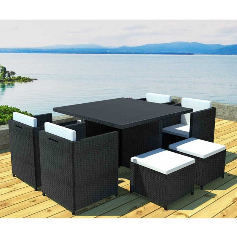 salon de jardin en r sine rhodes 8 places gris cru. Black Bedroom Furniture Sets. Home Design Ideas