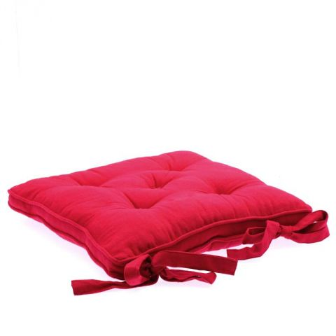 Coussin Chaise 5 Boutons Framboise