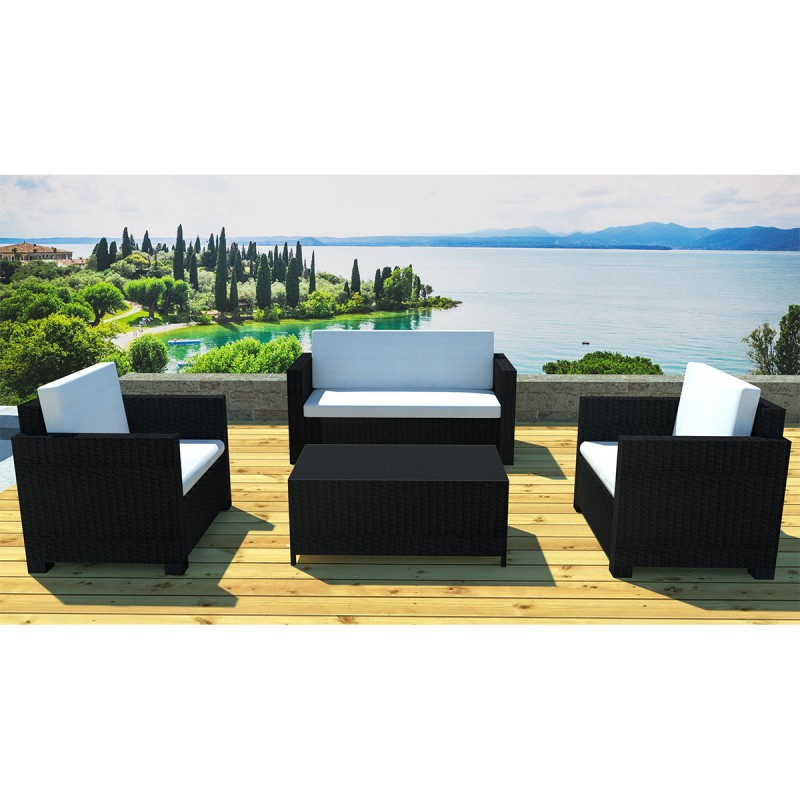 salon de jardin en r sine orlando 4 places noir cru. Black Bedroom Furniture Sets. Home Design Ideas
