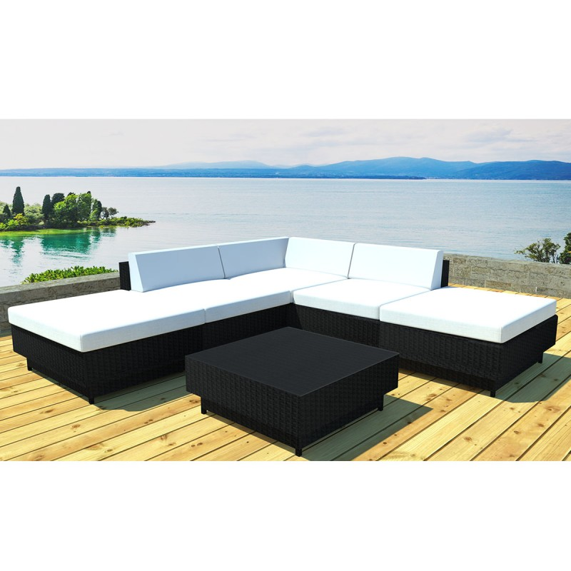 salon de jardin en r sine acapulco 4 places noir cru. Black Bedroom Furniture Sets. Home Design Ideas