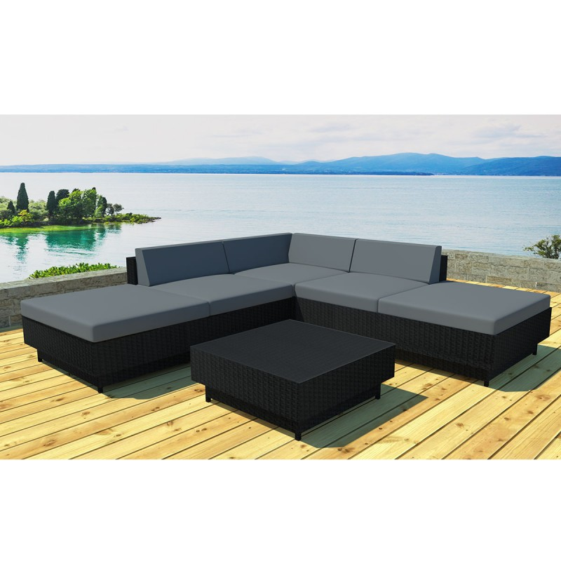 salon de jardin en r sine acapulco 4 places noir gris. Black Bedroom Furniture Sets. Home Design Ideas