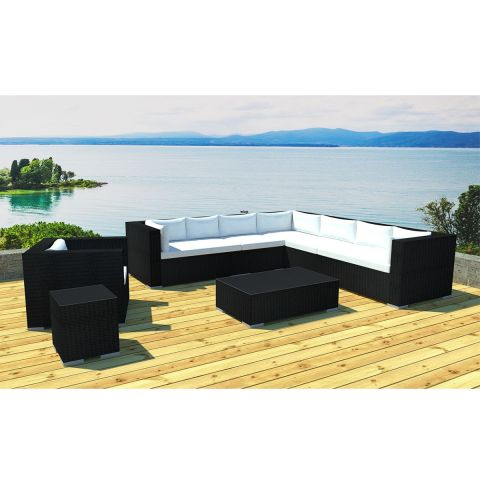 salon de jardin en r sine canberra 8 places noir cru. Black Bedroom Furniture Sets. Home Design Ideas