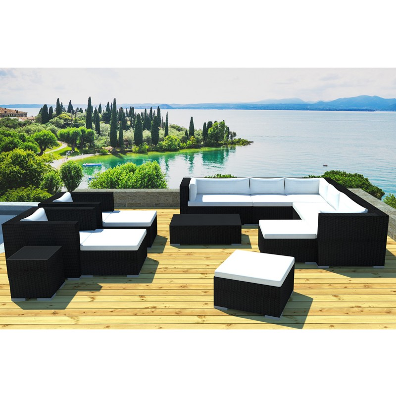 salon de jardin en r sine lisbonne 12 places noir cru. Black Bedroom Furniture Sets. Home Design Ideas