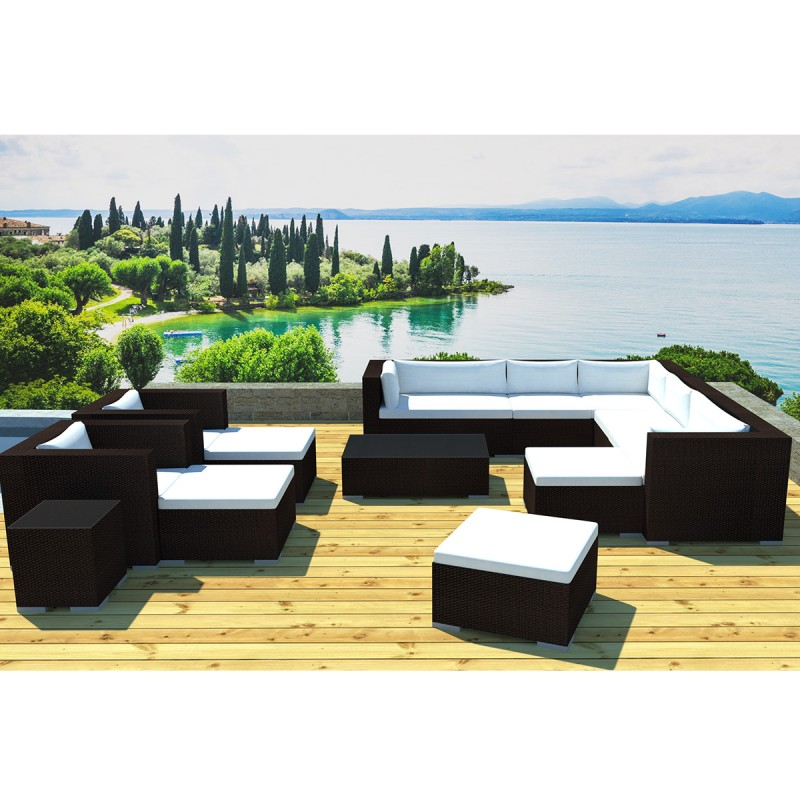 salon de jardin en r sine lisbonne 12 places marron cru. Black Bedroom Furniture Sets. Home Design Ideas