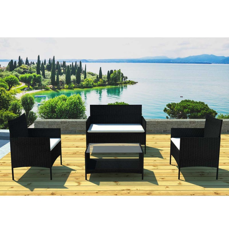 salon de jardin barcelona 4 places noir cru. Black Bedroom Furniture Sets. Home Design Ideas