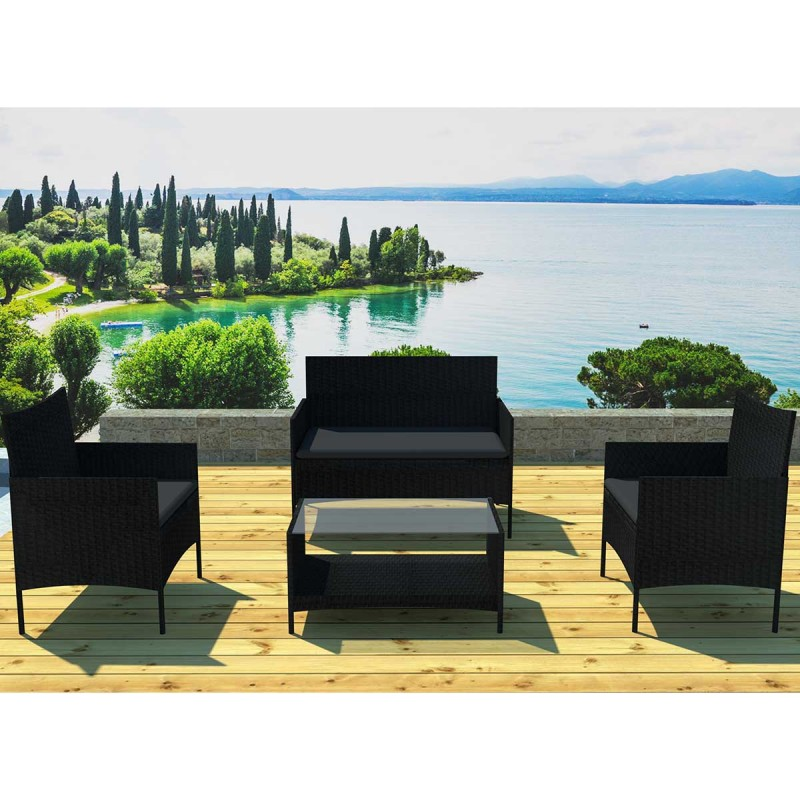 salon de jardin barcelona 4 places noir. Black Bedroom Furniture Sets. Home Design Ideas