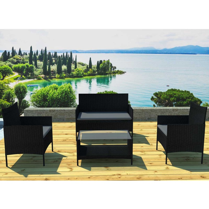 salon de jardin barcelona 4 places marron cru. Black Bedroom Furniture Sets. Home Design Ideas