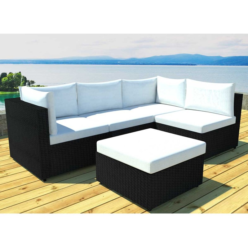 Salon de jardin modulable austin 5 places noir cru - Salon de jardin 5 places ...
