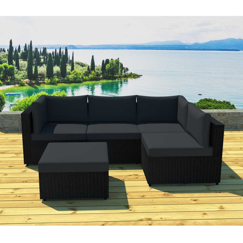 salon de jardin modulable austin 5 places noir. Black Bedroom Furniture Sets. Home Design Ideas