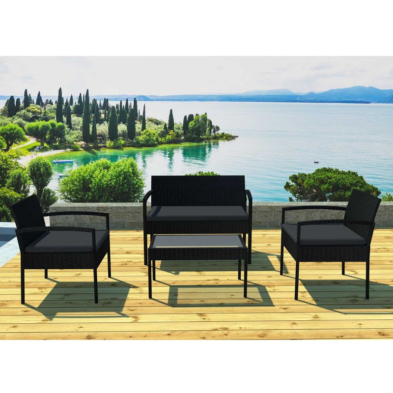 salon de jardin en r sine bandol 4 places noir. Black Bedroom Furniture Sets. Home Design Ideas