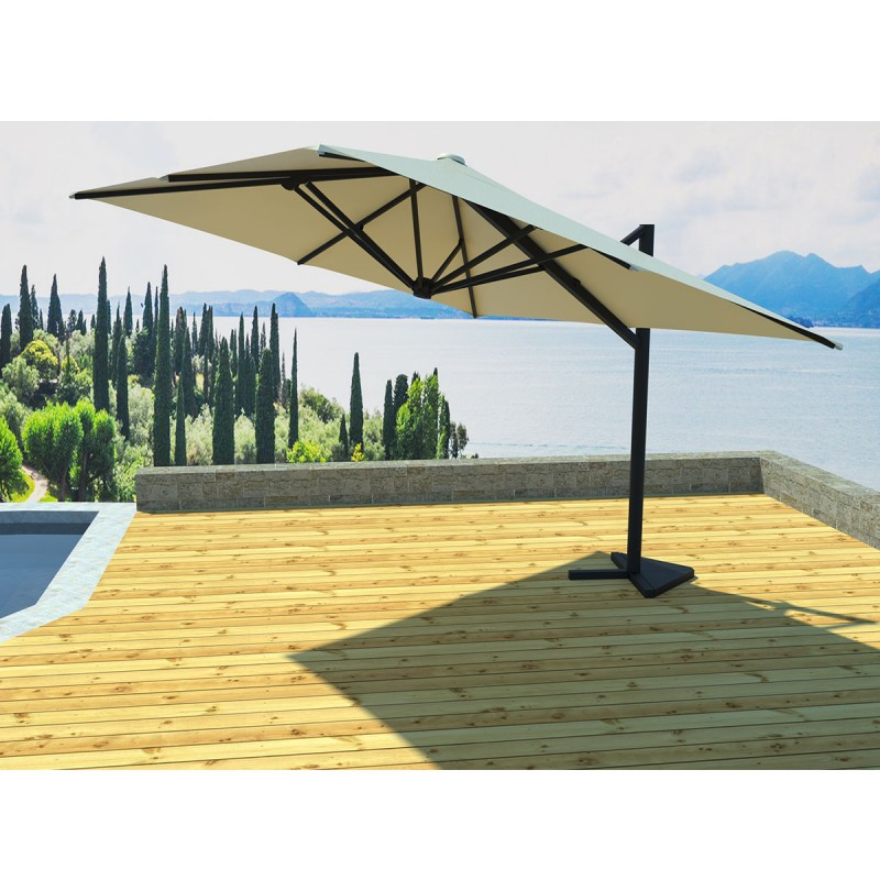 parasol d port rotatif carr soli 300cm cru. Black Bedroom Furniture Sets. Home Design Ideas
