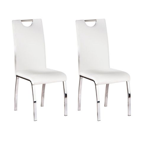 "Lot de 2 Chaises Design Métal ""Custo"" 102cm Blanc"