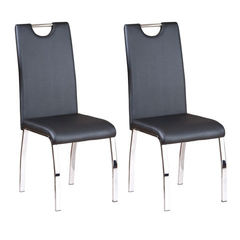 "Lot de 2 Chaises Design ""Custo"" 102cm Noir"