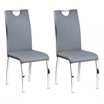"Lot de 2 Chaises Design ""Custo"" Gris"