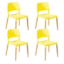 "Lot de 4 Chaises ""Deli"" Jaune"