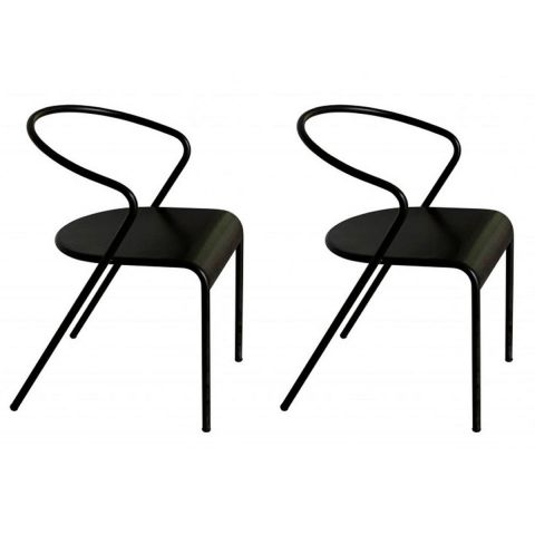 "Lot de 2 Chaises Design ""Akaros"" Noir"