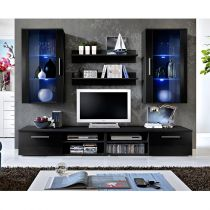 "Ensemble Meuble TV Mural Design ""Galino VII Black"" Noir"