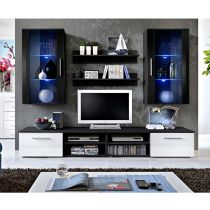 "Ensemble Meuble TV Mural Design ""Galino VII Black"" Blanc & Noir"