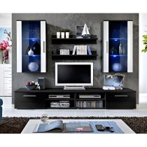 "Meuble TV Mural Design ""Galino VII Black"" Noir & Blanc"