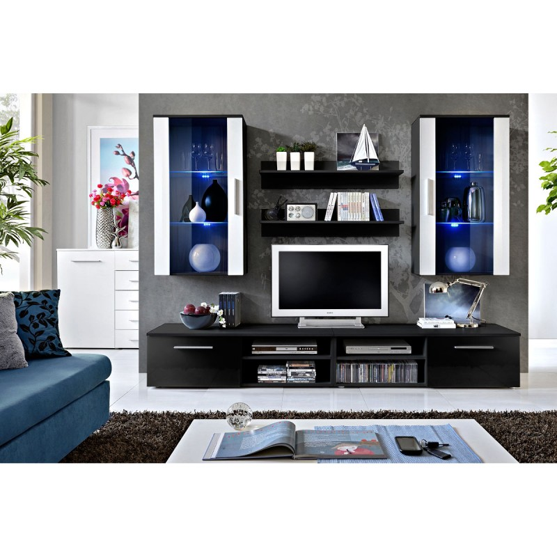 Meuble tv mural design galino vii black noir blanc for Meuble mural noir brillant