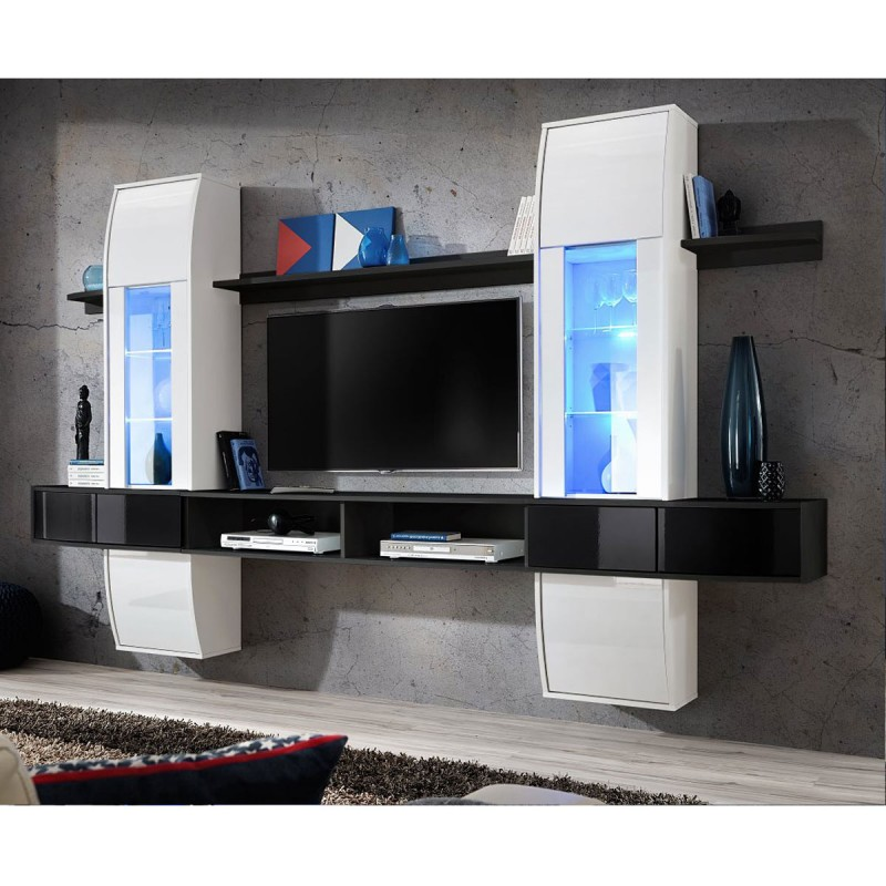 meuble tv mural design comet i blanc noir. Black Bedroom Furniture Sets. Home Design Ideas