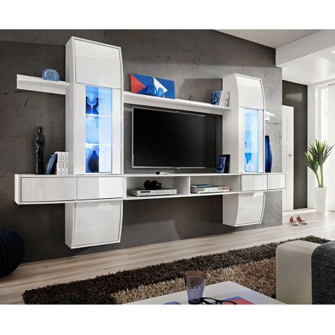 meuble tv mural design comet i blanc. Black Bedroom Furniture Sets. Home Design Ideas
