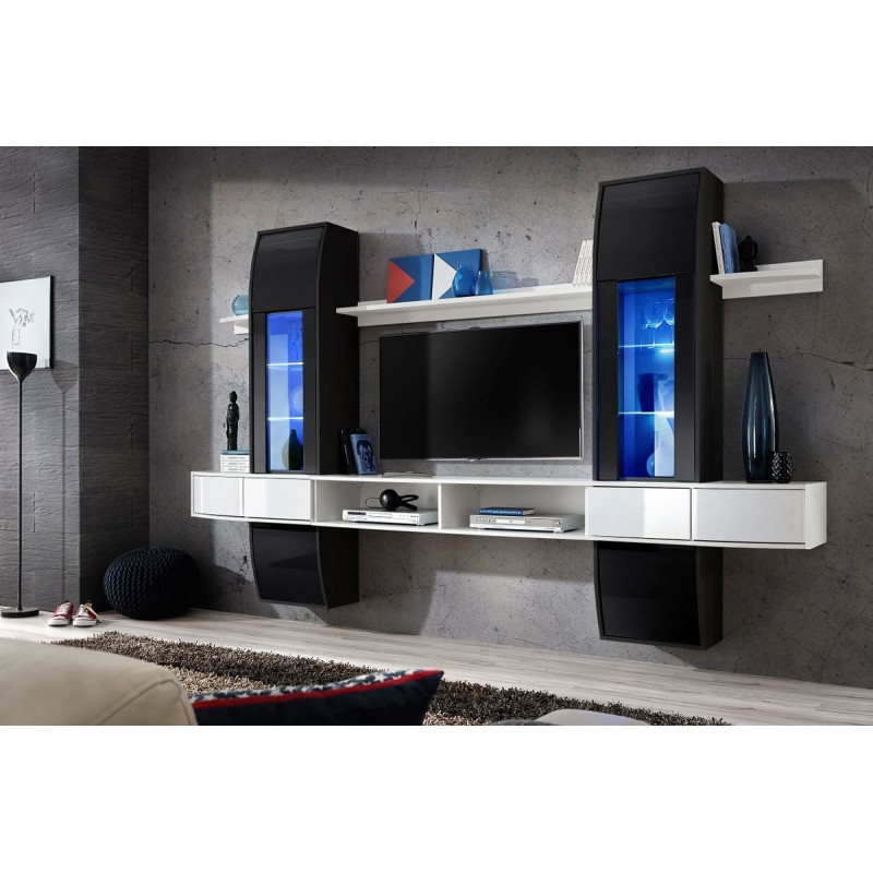 meuble tv mural design comet i noir blanc. Black Bedroom Furniture Sets. Home Design Ideas