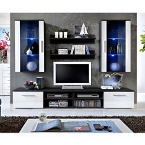 "Ensemble Meuble TV Mural Design ""Galino VII Black"" Blanc"