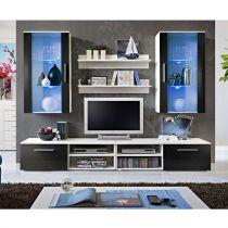 "Ensemble Meuble TV Mural Design ""Galino VII White"" Noir & Blanc"