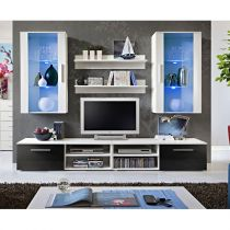 "Ensemble Meuble TV Mural Design ""Galino VII White"" Blanc & Noir"