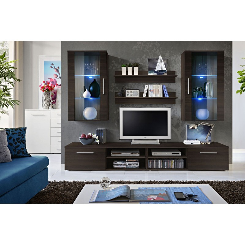 Meuble tv mural design galino vii coffee weng - Meuble tv colonne design ...