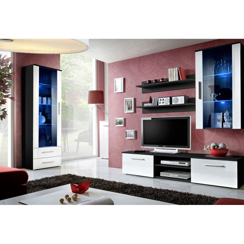 Ensemble meuble tv biblioth que galino vi black blanc - Ensemble meuble tv et bibliotheque ...