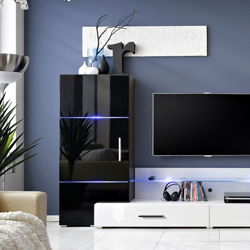 meuble tv mural design tower i 280cm noir blanc. Black Bedroom Furniture Sets. Home Design Ideas
