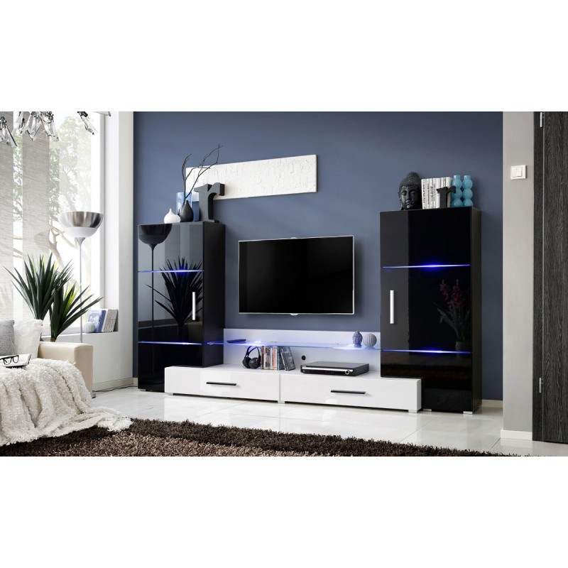 Meuble tv mural design tower i 280cm noir blanc for Meuble mural noir et blanc