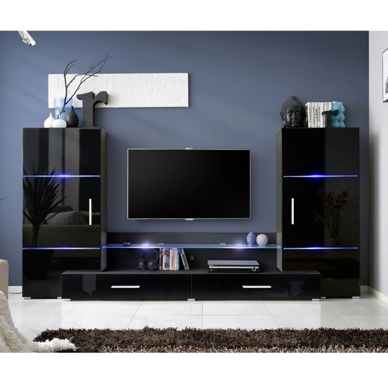 meuble tv mural design tower i 280cm noir. Black Bedroom Furniture Sets. Home Design Ideas