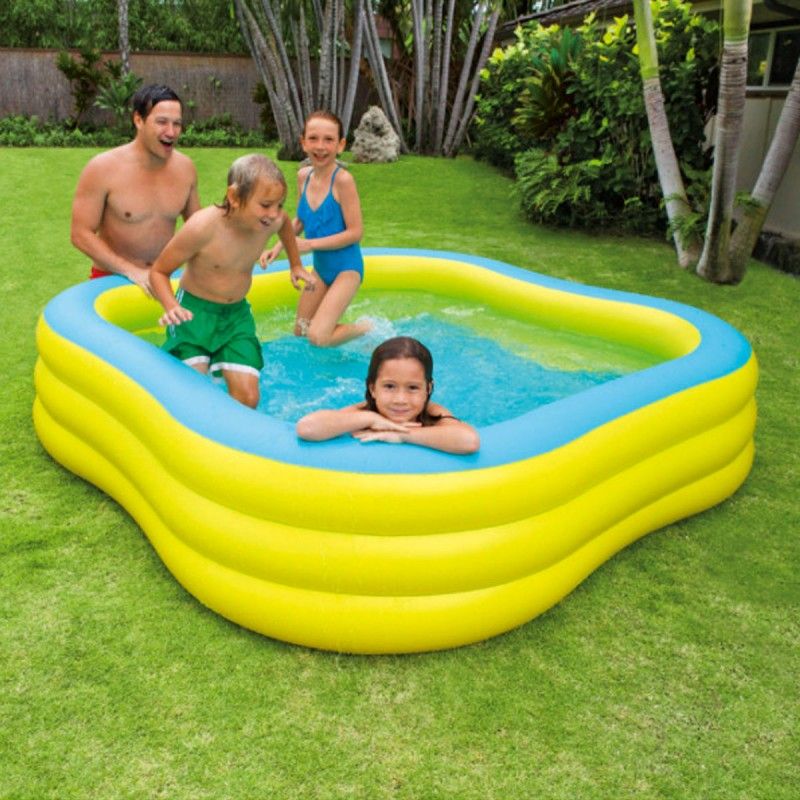 Piscine gonflable carr e hublot jaune for Prix piscine gonflable