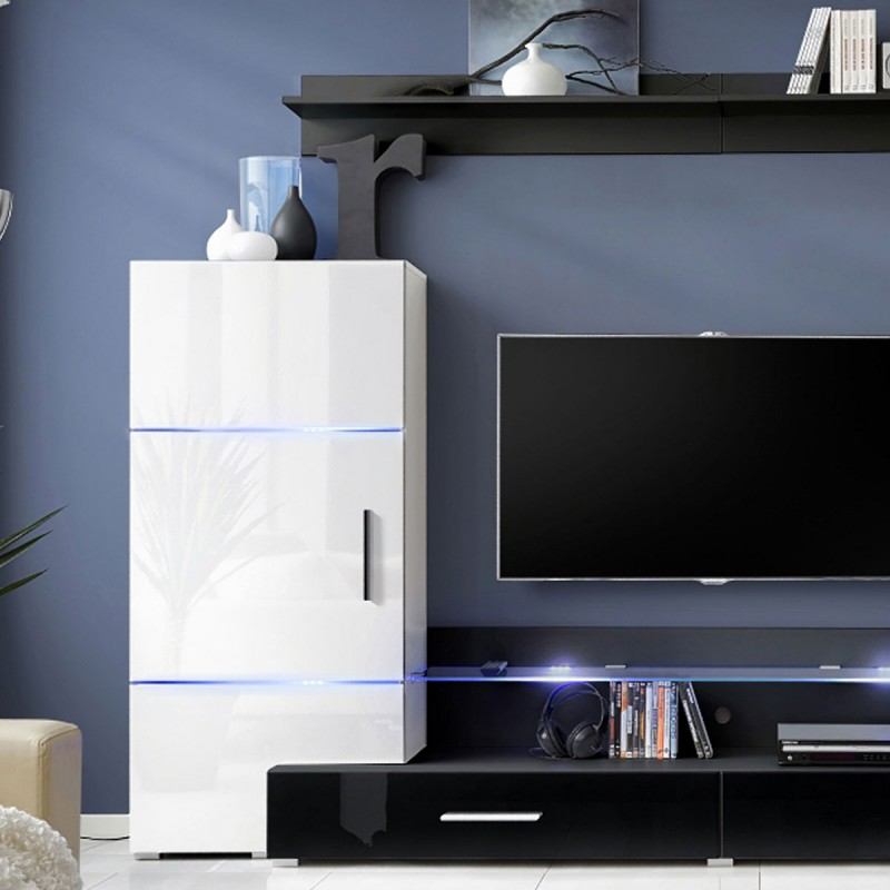 meuble tv mural design tower ii 280cm blanc noir. Black Bedroom Furniture Sets. Home Design Ideas