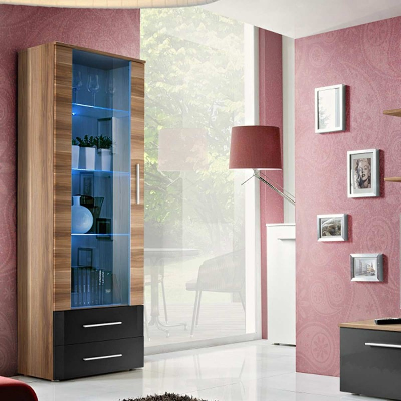 ensemble meuble tv biblioth que galino vi wood noir brun. Black Bedroom Furniture Sets. Home Design Ideas