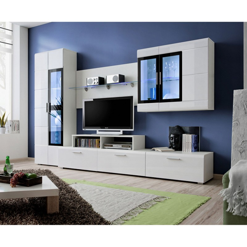 Meuble Tv Mural Design Krone 270cm Blanc