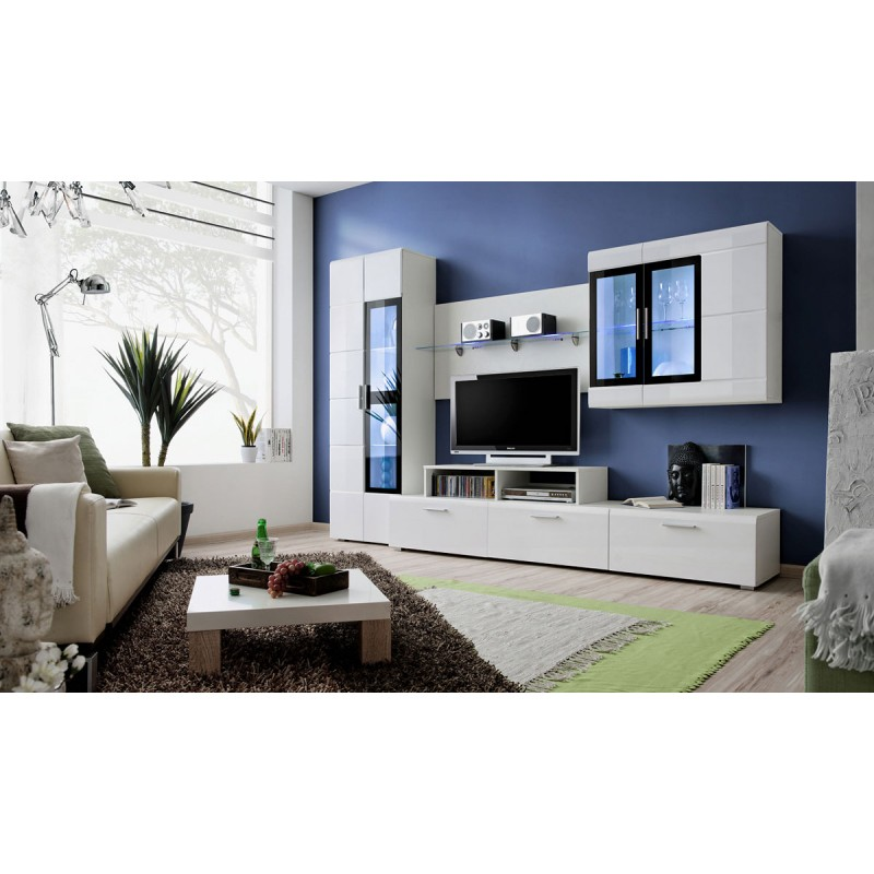 meuble tv mural design krone 270cm blanc. Black Bedroom Furniture Sets. Home Design Ideas