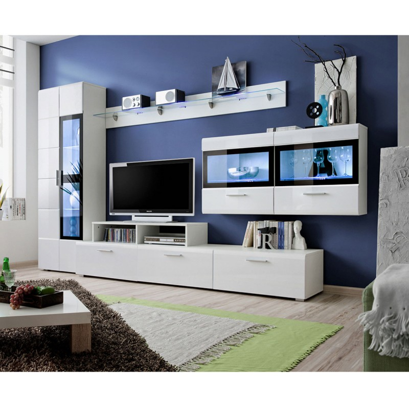 meuble tv mural design krone 300cm blanc. Black Bedroom Furniture Sets. Home Design Ideas
