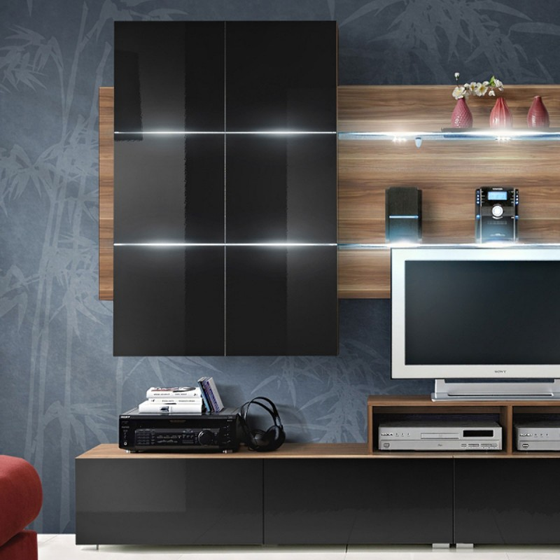 Meuble tv mural design eclipse 260cm noir brun for Meuble mural noir brillant