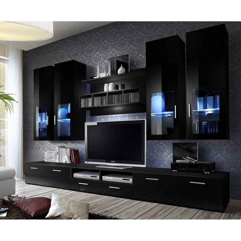 meuble tv mural design lyra 300cm noir. Black Bedroom Furniture Sets. Home Design Ideas