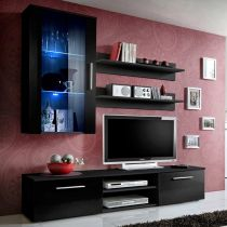 "Meuble TV Mural Design ""Galino V Black"" Noir"