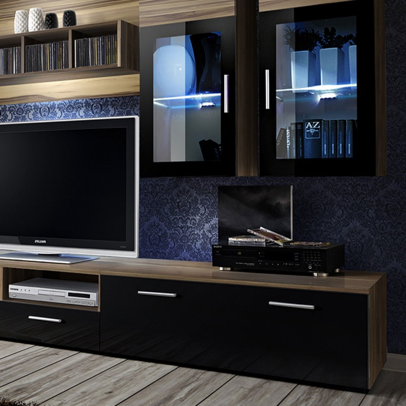 meuble tv mural design lyra 300cm noyer noir. Black Bedroom Furniture Sets. Home Design Ideas